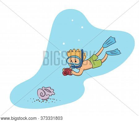 Cute Little Boy Wearing Mask And Swimming Suit Diving. Happy Child Making Photo With Shell Underwate