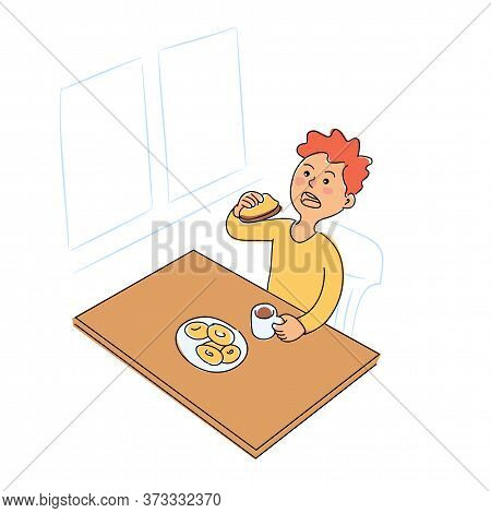 Cute Boy Eating Sandwiches And Drinking Cacao Or Tea On Breakfast. Cartoon Child Character Sitting A