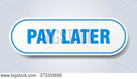 Pay Later Sign. Pay Later Rounded Blue Sticker. Pay Later