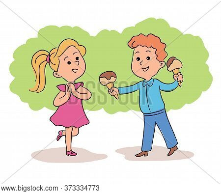 Little Happy Boy Treating Cute Excited Surprised Girl With Ice-cream. Best Friends And First Love. H