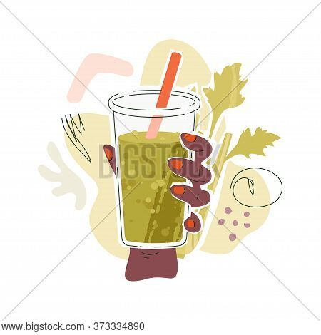 Black Female Hand With Celery Juice. Vector Illustration Of A Hand With Glass Filled By Celery Juice