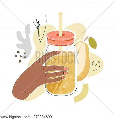 Brown Female Hand With Pear Juice. Vector Illustration Of A Hand With Jar Filled By Pear Smoothies W