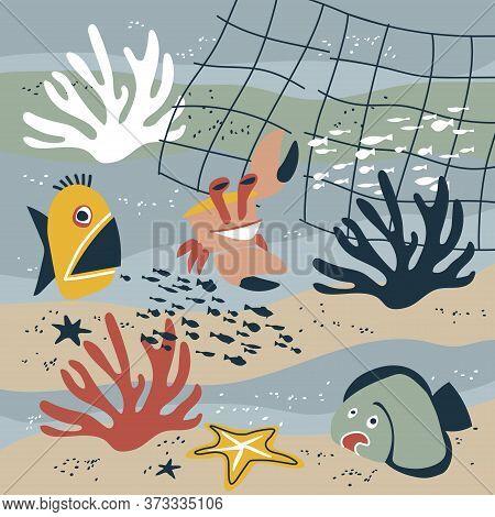 Funny Marine Animals On A Sea Bottom, Fish, Flounder, Corals, Starfish, Crab, Trawl Fishery, Underwa