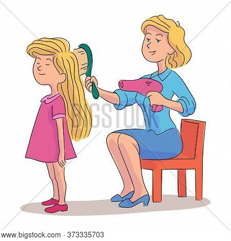Mother Combing And Drying Daughters Hair With Hairdryer And Brush. Happy Family Isolated On White. G