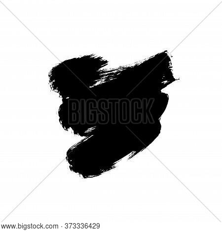 Vector Black Paint, Ink Brush Stroke Or Shape. Dirty Grunge Design Element, Box Or Background For Te