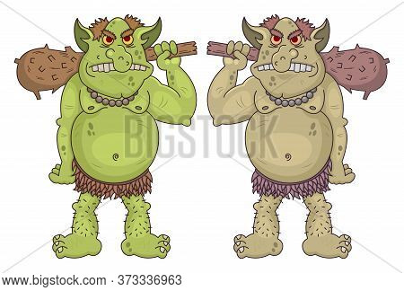 Giant Funny Cartoon Ogres Holds A Wooden Clubs. Cute Fantasy Mythical Characters. Vector Cave Dwelle
