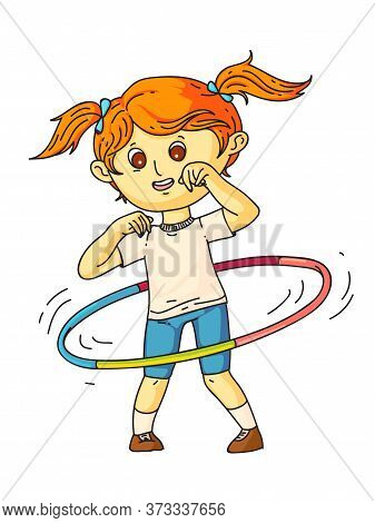 Little Pretty Girl Wearing Sports Suit Twisting Hoop On Waist Standing Isolated On White. Happy Chil