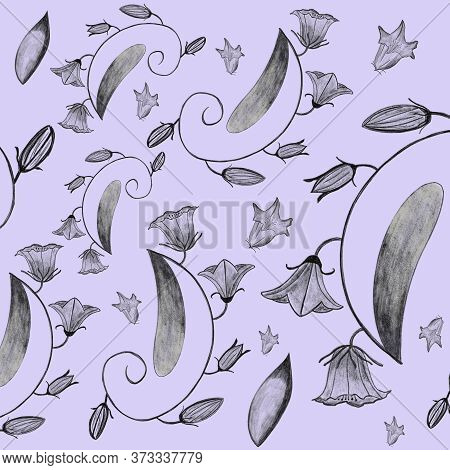 Bellflowers Pencil Drawing. Seamless Pattern With Flowers, Leaves, Plants, And Blooms On Blue Backgr