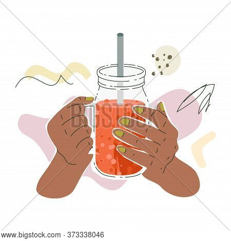Brown Female Hand With Smoothies Jar. Vector Illustration Of A Hands With Jar Filled By Veggie Smoot
