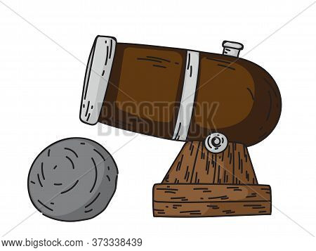 Ancient Old Naval Pirate Cannon With Cannonball Kernels Isolated On White. Armory Arsenal. Safety Gu