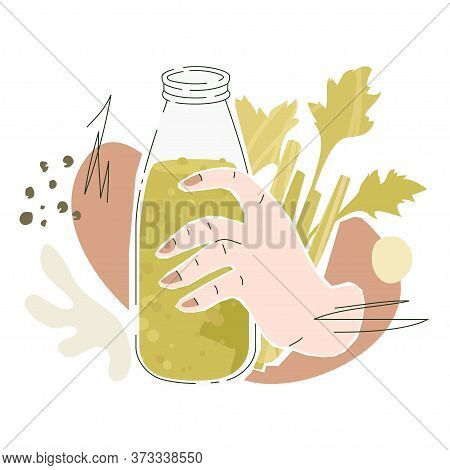 Pink Female Hand With Celery Juice. Vector Illustration Of A Hand With Bottle Filled By Veggie Smoot