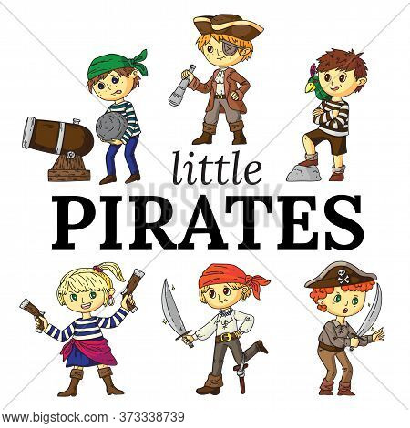 Little Pirates Captain And Sailor Funny Cartoon Characters Flat Set. Happy Cute Children In Carnival