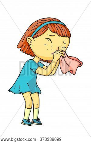 Little Sick Girl Suffering From Runny Nose Got Cold. Cute Kid Sneezing. Female Toddler Blowing Nose