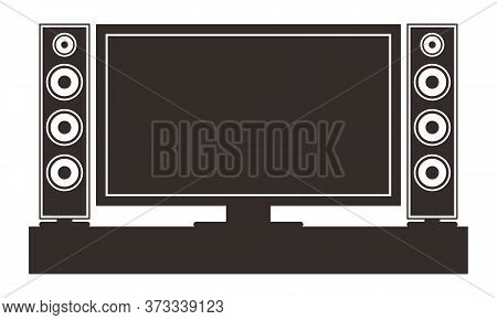 Home Theatre. Tv Set System In Interior Big Modern Multimedia System Home Theatre In Living Room Vec