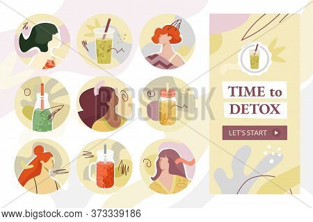 Smoothies Highlights Covers For Stories. Vector Illustration Set Of Diverse Females Avatars, Jars, B