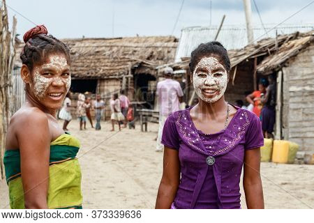 Andavadoaka, Madagascar - January 13th, 2019: Portrait Of Two Local Young Malagasy Women With Their