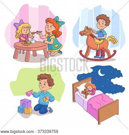 Cute Children Playing With Toys Cartoon Scene Set. Girls Feeding Doll, Sleeping With Teddy Bear In B