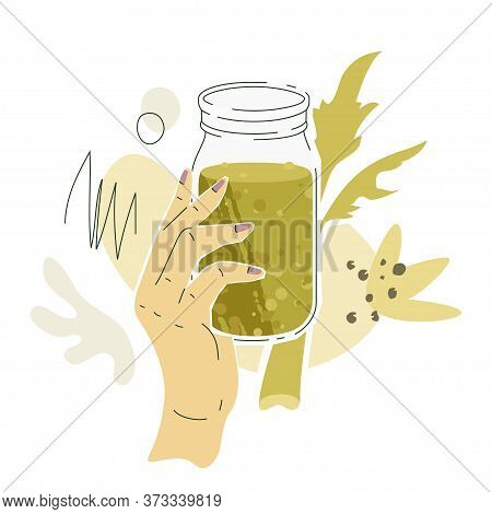 White Female Hand With Celery Juice. Vector Illustration Of A Hand With Jar Filled By Celery Juice A