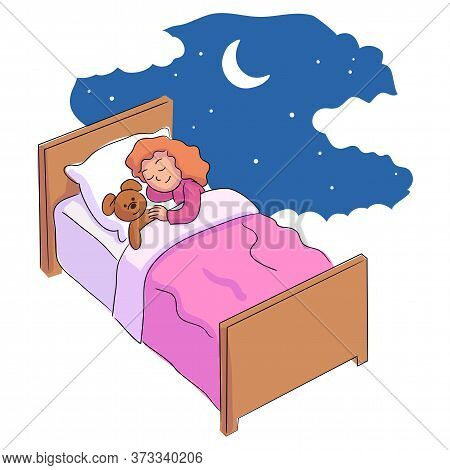 Cute Little Girl Sleeping And Dreaming With Teddy Bear In Bed. Good Dreams At Night Cartoon. Prescho
