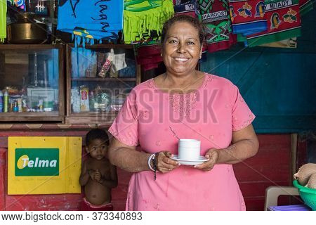 Andavadoaka, Madagascar - January 13th, 2019: A Local Malagasy Woman Who Works At Her Restaurant - K