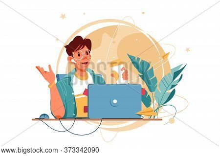 Happy Man With Glasses Using Laptop For Distance Communication. Concept Smiling Male Businessman Cha