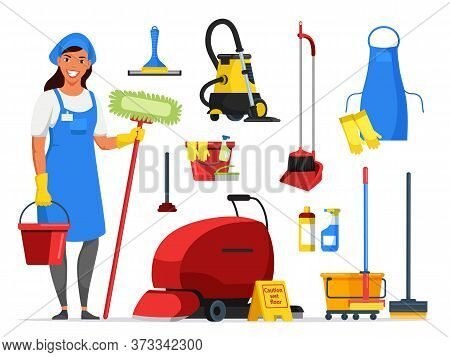 Cleaning Service Flat Set. Woman Staff And Equipment. Cartoon Bucket, Mop, Gloves, Apron, Rag, Clean