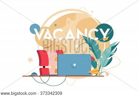 New Vacancy With Laptop For Distance Communication At Workplace Without People. Concept Empty Human