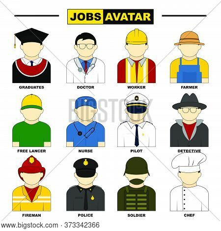 Set Object Of Jobs Avatar Vector Illustration. Perfect Template For Avatar Or Character Icon Design.