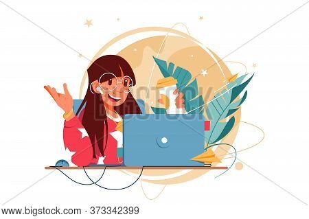 Happy Woman With Glasses Using Laptop For Distance Communication. Concept Smiling Female Businesswom