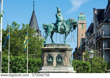 Malmo, Sweden - June 25, 2020: Statue Of King Charles X Gustaf Of Sweden On A Horse. This King Defea