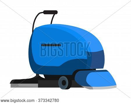 Blue Industrial Floor Scrubber Cleansing Equipment Isolated On White. Professional Floor-washing Mac