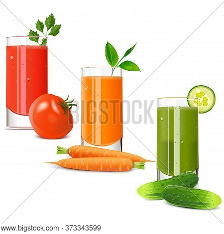 Vector Vegetable Juice Icons Isolated On White Background