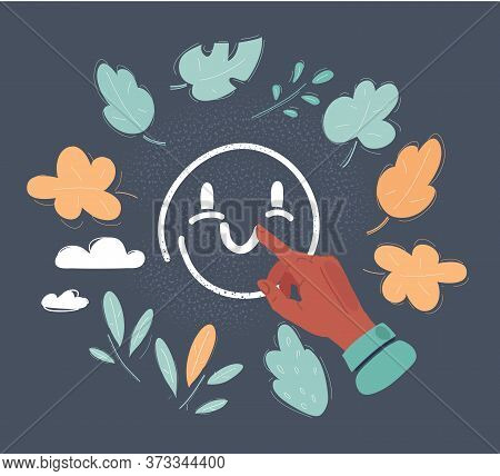Vector Illustration Of Happy Face Icon Drawn On Dark Background By Human Forefinger.