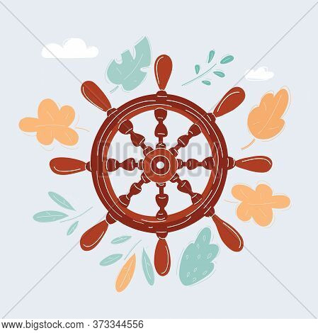 Vector Illustration Of Isolated Vintage Wooden S Ships Steering Wheel