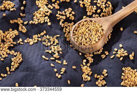 Fenugreek Seeds. Trigonella Foenum - Graecum. Top View