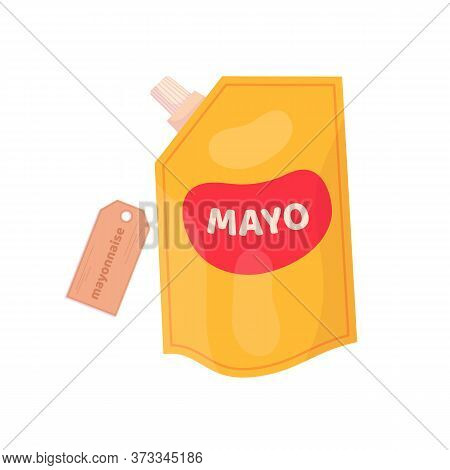 Orange Cheese Or Mayonnaise Sauce Packaging. Vector Cartoon Flat Illustration Isolated On White.