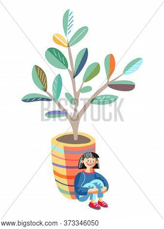 Little Girl Sitting Leaned Back To Huge Flowerpot Hide From Friends. Hide-and-sick Game. Happy Child