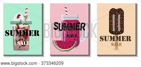 Flat Vector Illustration Of A Summer Sale Of Goods. Advertising With Ice Cream, Smothie, Lemonade On
