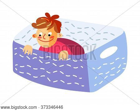 Cute Little Boy Sitting In Basket Play Hide-and-sick Game. Happy Childhood. Fun And Joyful Time. Rec