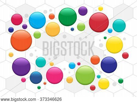 Abstract Circles Background, Colorful Bubbles. Medicine Pills Pattern. Place For Your Text. Vector I