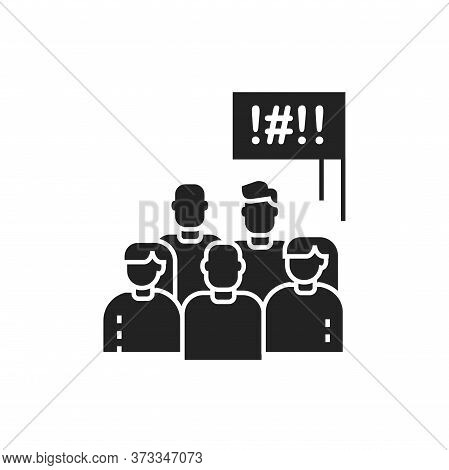Social Protest Glyph Black Icon. Manifestations Of Civil Unrest. Group Of People Strike. Pictogram F