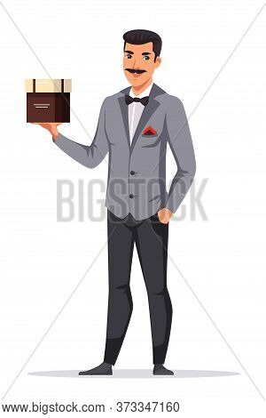 Man Waiter Holding Brown Cardboard Package Box. Male Character Wearing Formal Suit Presenting New Ca