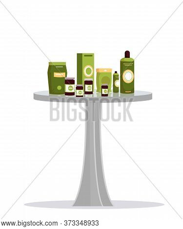 Natural Cosmetics, Organic Nutritional Supplements And Herbal Beauty Products On Table. Promotion An