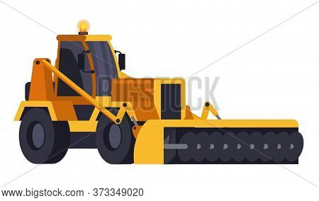 Yellow Snow Removal Bulldozer Isolated On White. Cartoon Plow Tractor Front View. Special Urban Vehi
