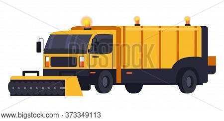 Snow Removal Truck Machine For Highway Service. Snow Grooming Car Isolated On White. Yellow Snowblow