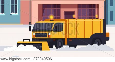 Snow Removal Street And Road Process. Winter Highway Service. Bulldozer, Lorry, Dump Truck. Professi