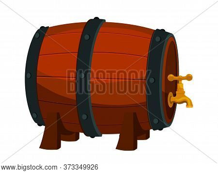 Wooden Wine Barrel With Faucet On Legs Isolated On White. Wood Drink Container, Cask, Keg For Cellar