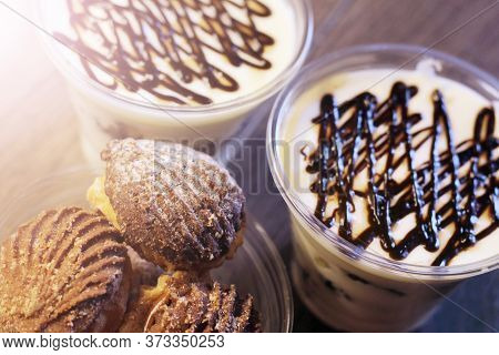 Tiramisu Desserts And Cookies In The Cup So Close