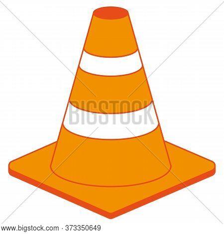 Orange Road Traffic Safety Cone Icon Vector