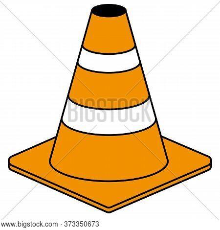 Orange Road Traffic Safety Cone Vector Icon